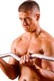 Amateur bodybuilder. Training his bicep royalty free stock photos