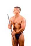 Amateur bodybuilder posing. Over white background royalty free stock photography