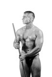 Amateur bodybuilder posing. Over white background stock photography