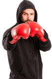 Amateur boxer in the fighting position Royalty Free Stock Photos