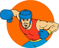 Amateur Boxer Overhead Punch Circle Drawing Royalty Free Stock Photo