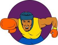Amateur Boxer Punching Circle Drawing Stock Photography
