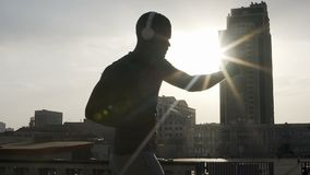 Amateur boxer training for most important fight, dedicated sport motivation. Stock footage stock footage