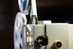 Amateur cinema. Projector for 8mm film. 1960s, 1970s, 1980s years. Home cinema. Film super 8.  stock images