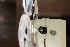Amateur cinema. Projector for 8mm film. 1960s, 1970s, 1980s years. Home cinema. Film super 8.  stock photography