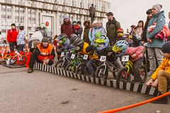 Amateur competition of children to balance bicycle on Lenin Square, Reade set Go. City Tula. Russia - April 06, 2019: amateur competition of children to balance royalty free stock images