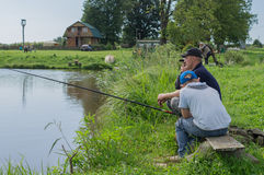 Amateur competitions on sports fishing in the Kaluga region of Russia. On the waters very often hosts various competitions between fishermen, held both stock image