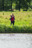 Amateur competitions on sports fishing in the Kaluga region of Russia. On the waters very often hosts various competitions between fishermen, held both royalty free stock photo