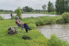 Amateur competitions on sports fishing in the Kaluga region of Russia. On the waters very often hosts various competitions between fishermen, held both stock images