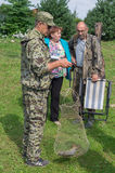 Amateur competitions on sports fishing in the Kaluga region of Russia. On the waters very often hosts various competitions between fishermen, held both stock photos