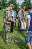 Amateur competitions on sports fishing in the Kaluga region of Russia. On the waters very often hosts various competitions between fishermen, held both stock photo