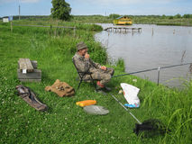 Amateur competitions on sports fishing in the Kaluga region of Russia. On the waters very often hosts various competitions between fishermen, held both stock photography