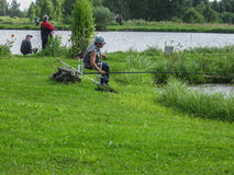 Amateur competitions on sports fishing in the Kaluga region of Russia. royalty free stock photography