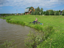 Amateur competitions on sports fishing in the Kaluga region of Russia. On the waters very often hosts various competitions between fishermen, held both royalty free stock photography