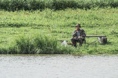 Amateur competitions on sports fishing in the Kaluga region of Russia. On the waters very often hosts various competitions between fishermen, held both royalty free stock images