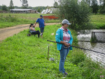 Amateur competitions on sports fishing in the Kaluga region of Russia. On the waters very often hosts various competitions between fishermen, held both royalty free stock image