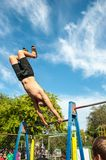 Amateur competitions of street workout Royalty Free Stock Images