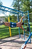 Amateur competitions of street workout Royalty Free Stock Photos