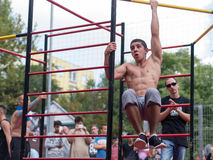 Amateur competitions of street workout Royalty Free Stock Photography