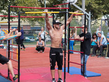 Amateur competitions of street workout Stock Image
