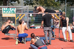 Amateur competitions of street workout Stock Images
