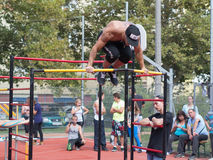 Amateur competitions of street workout Stock Photo