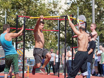 Amateur competitions of street workout Royalty Free Stock Photo