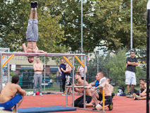 Amateur competitions of street workout Royalty Free Stock Image