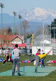 Amateur Cricket Match. A local amateur cricket match played in Abbotsford, British Columbia, Canada stock photos