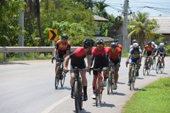 Amateur cyclist They compete in a charity program. For children with visual disabilities. From Chonburi to Chanthaburi,thailand. the route is 129 km on March 17 stock photography
