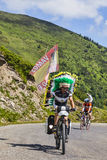 Amateur Cyclist in Pyrenees Mountains Stock Images