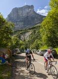 Amateur Cyslists Climbing Col du Granier Stock Image