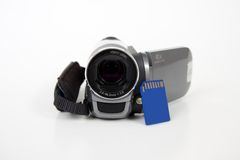 Amateur Digital Camera With Sd Memory Card Stock Image