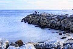 Oeiras – Amateur Fishermen and Breakwater Stock Photography