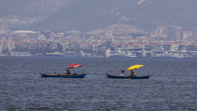 Amateur Fishermen on Rowboats. Are catching fish in  Izmir Bay, Turkey Stock Photos