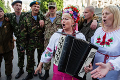 Amateur folk on Maidan Royalty Free Stock Photography