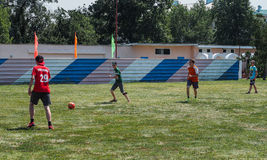 Amateur football competitions in the children's recreation camp in Anapa in Krasnodar region of Russia. Royalty Free Stock Photography