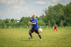 Amateur football competitions in the Kaluga region of Russia. The annual football championship among Amateur teams of municipalities is held in Kaluga region royalty free stock photos