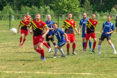 Amateur football competitions in the Kaluga region of Russia. The annual football championship among Amateur teams of municipalities is held in Kaluga region royalty free stock image