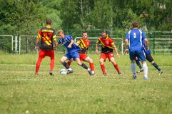 Amateur football competitions in the Kaluga region of Russia. The annual football championship among Amateur teams of municipalities is held in Kaluga region royalty free stock photography