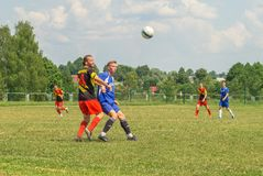 Amateur football competitions in the Kaluga region of Russia. The annual football championship among Amateur teams of municipalities is held in Kaluga region stock images