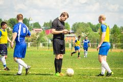 Amateur football match in Kaluga region of Russia. The Kaluga region annually hosts the football championship, in which teams from different cities of the royalty free stock photography