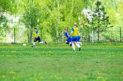 Amateur football match in Kaluga region of Russia. The Kaluga region annually hosts the football championship, in which teams from different cities of the royalty free stock image