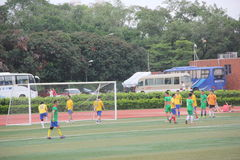 Amateur football team in SHENZHEN. Although is a amateur football match, but exercise every team bodies and team work spirit royalty free stock photo