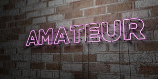 AMATEUR - Glowing Neon Sign on stonework wall - 3D rendered royalty free stock illustration Stock Photos