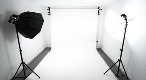 Amateur home made photo studio. In the basement. Inexpensive Self made background in the photo studio stock photos