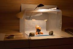 Amateur home made photo studio in the sauna. Inexpensive self made diy softbox setup for product photography. Amateur home made photo studio in the sauna Stock Photography