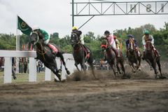 Amateur Horse Race. Jockeys race during an amateur horse racing event, at Wonogiri, Central Java, Indonesia Stock Photos
