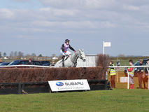 Amateur Horse Racing Jumping over Fences Royalty Free Stock Photos