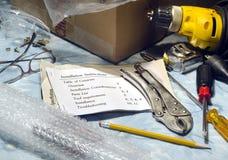 Amateur hulpmiddelen met instructies stock afbeeldingen